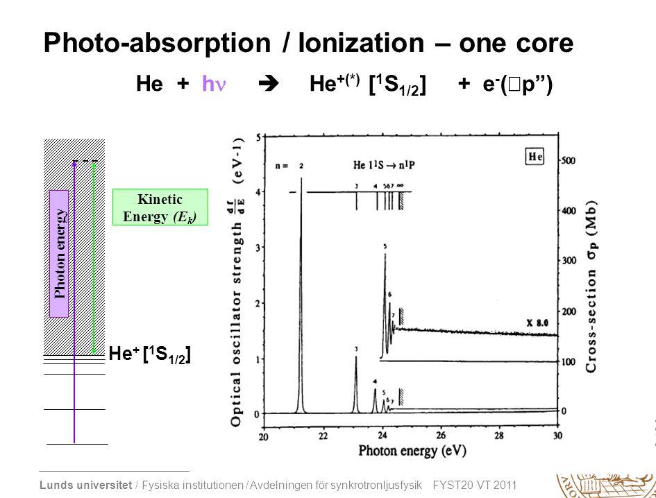 Lunds universitet / Fysiska institutionen / Avdelningen för synkrotronljusfysik FYST20 VT 2011 Photo-absorption / Ionization – one core He + h   He +(*) [ 1 S 1/2 ] + e - ( p ) Photon energy Kinetic Energy (E k ) He + [ 1 S 1/2 ]
