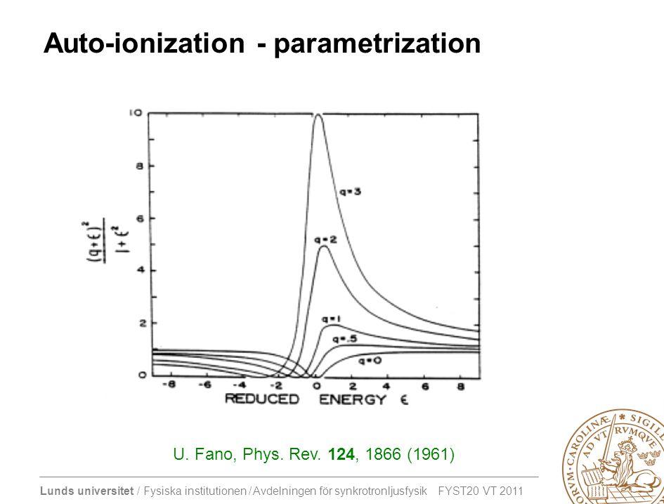 Lunds universitet / Fysiska institutionen / Avdelningen för synkrotronljusfysik FYST20 VT 2011 Auto-ionization - parametrization U.