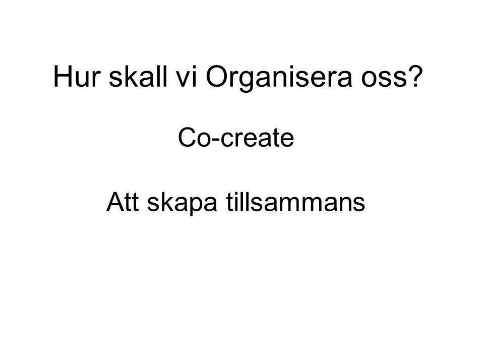 Hur skall vi Organisera oss? Co-create Att skapa tillsammans