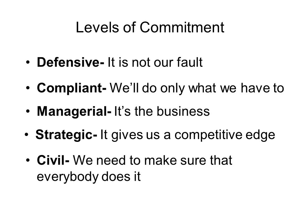 Levels of Commitment •Defensive- It is not our fault •Compliant- We'll do only what we have to •Managerial- It's the business •Strategic- It gives us a competitive edge •Civil- We need to make sure that everybody does it