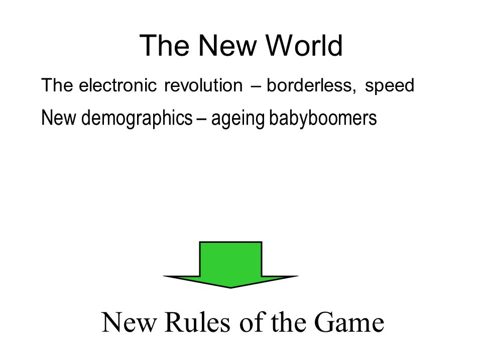 The New World The electronic revolution – borderless, speed New Rules of the Game New demographics – ageing babyboomers GC 1992