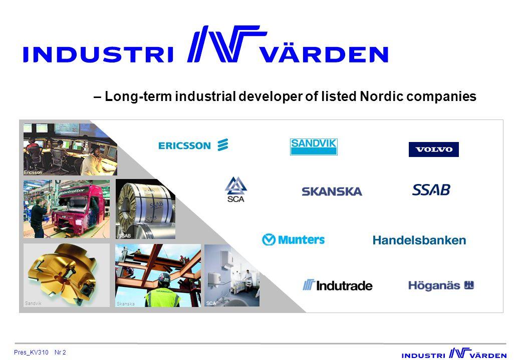 Pres_KV310 Nr 3 Strong base for value creation Our competitive advantages Our portfolio HoldingMarket value,PortfolioShare of SEK bnshare, %votes, % Sandvik14.52311.8 Handelsbanken14.02210.3 Volvo8.01310.4 SCA7.31129.5 SSAB6.11022.6 Ericsson5.5913.6 Skanska3.8627.6 Indutrade2.7436.8 Munters0.8114.6 Höganäs0.818.1 Total AUM63.5100  A strong, competitive long-term track record with limited risk As per September 30, 2010 Blue-chip portfolio Long-term active ownership Leveraged influence Extensive structural capital Our rating Standard & Poors: A/stable/A–1