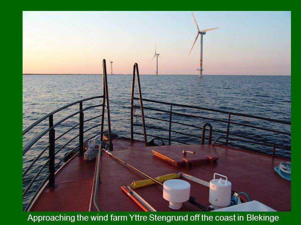 Approaching the wind farm Yttre Stengrund off the coast in Blekinge