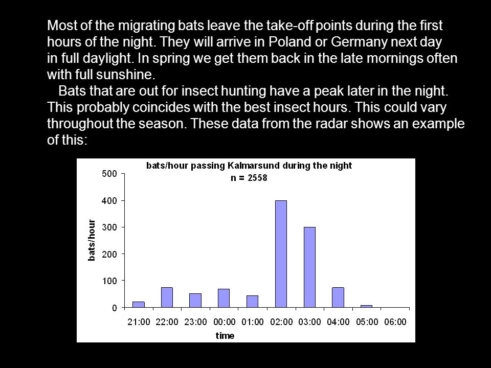 Most of the migrating bats leave the take-off points during the first hours of the night.