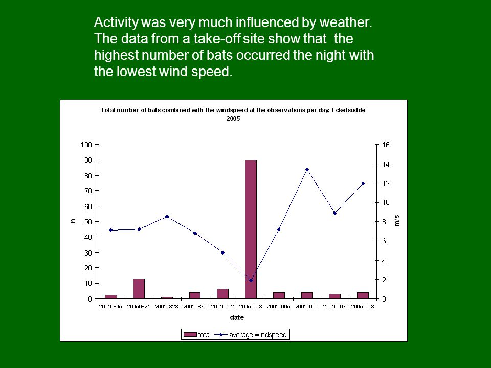 Activity was very much influenced by weather.