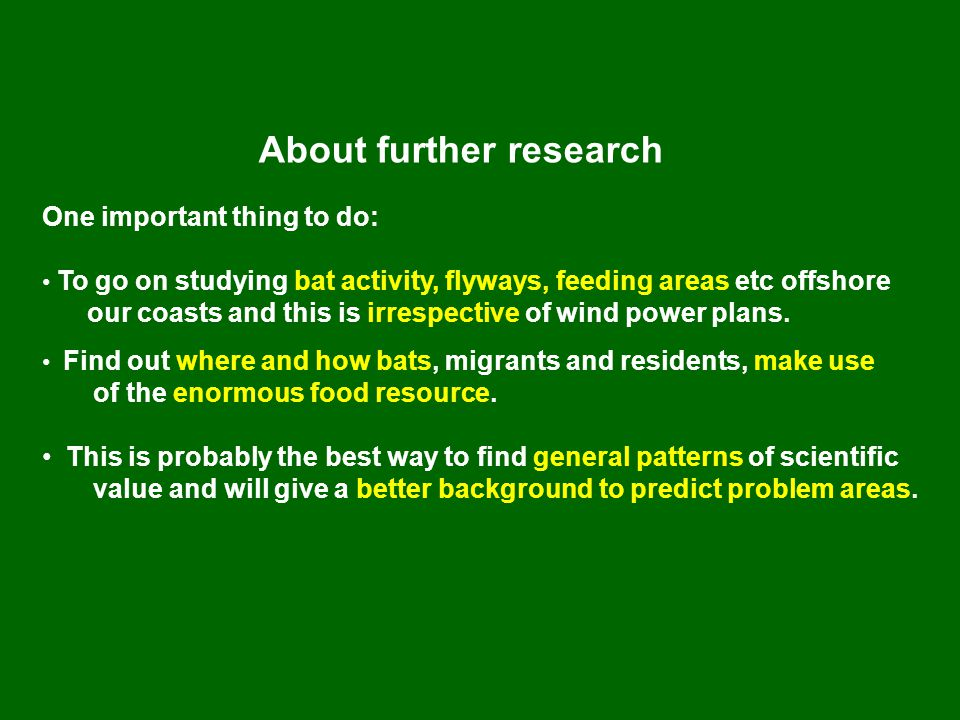 About further research One important thing to do: • To go on studying bat activity, flyways, feeding areas etc offshore our coasts and this is irrespective of wind power plans.
