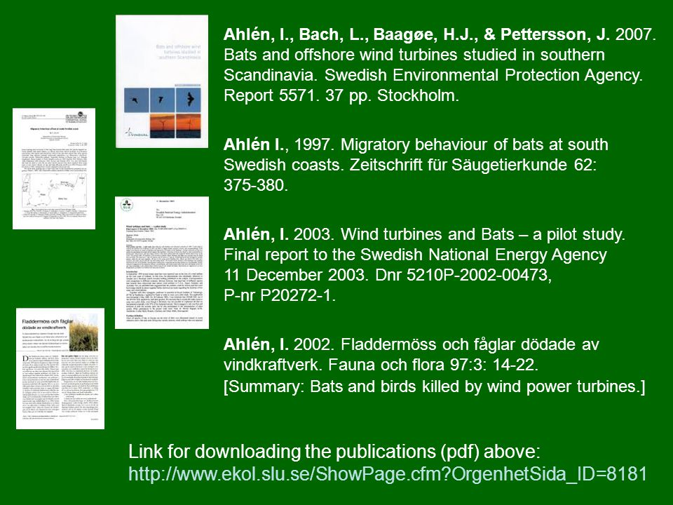Ahlén, I., Bach, L., Baagøe, H.J., & Pettersson, J. 2007. Bats and offshore wind turbines studied in southern Scandinavia. Swedish Environmental Prote