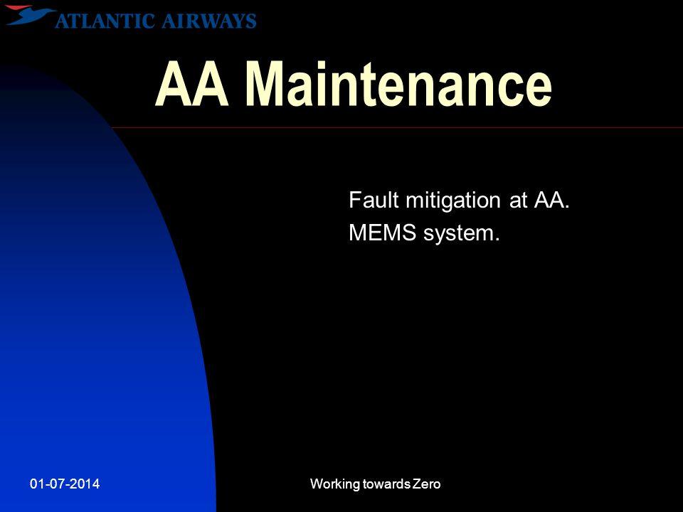 01-07-2014Working towards Zero AA Maintenance  4 Fixed wings - 2 rotor wings  23 Engines  350.000 pax  10 km / -50C / 780 km/h  20 staff members.