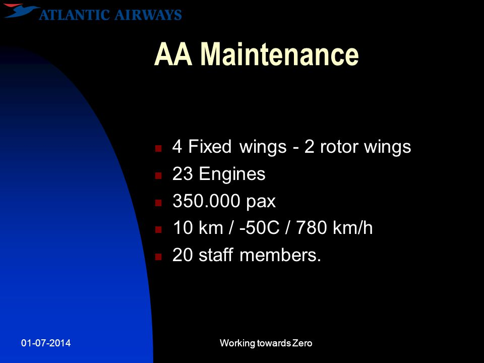 01-07-2014Working towards Zero AA Maintenance  4 Fixed wings - 2 rotor wings  23 Engines  350.000 pax  10 km / -50C / 780 km/h  20 staff members.