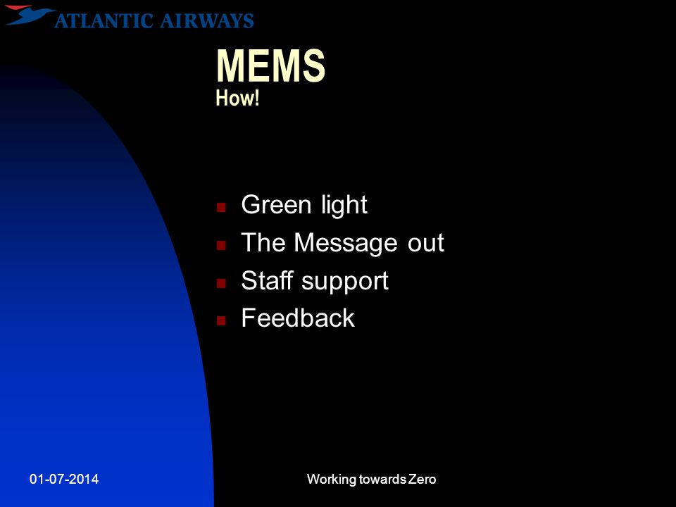 01-07-2014Working towards Zero MEMS How!  Green light  The Message out  Staff support  Feedback