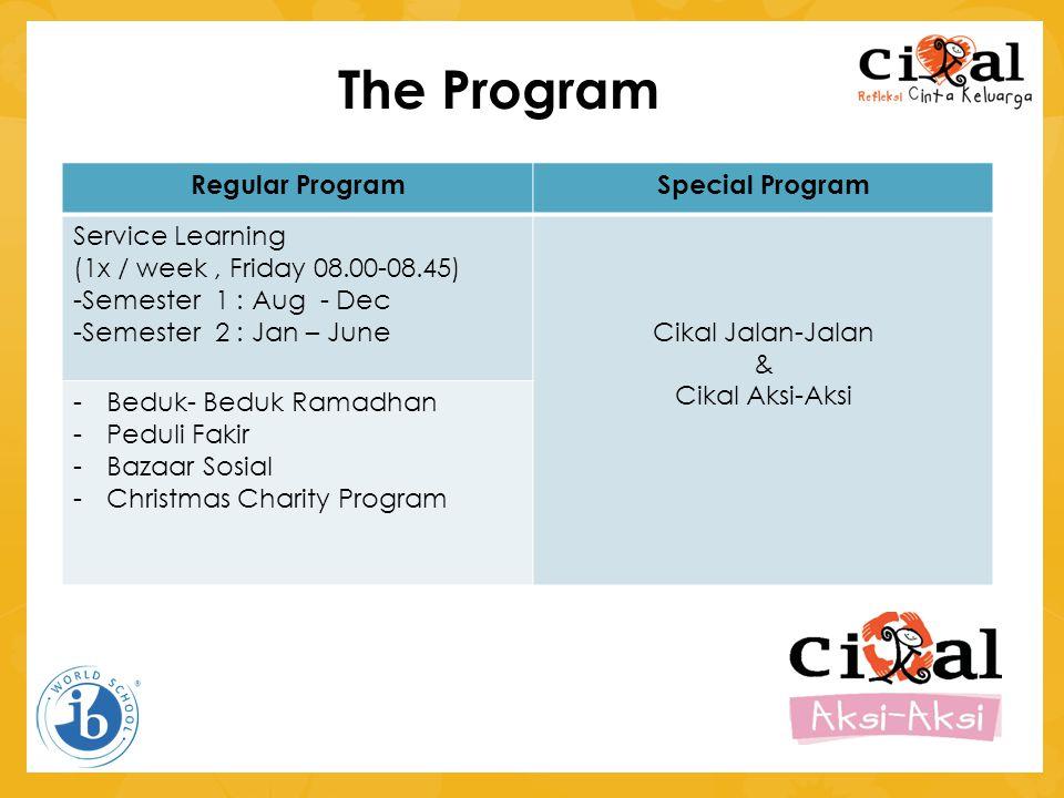 The Program Regular ProgramSpecial Program Service Learning (1x / week, Friday 08.00-08.45) -Semester 1 : Aug - Dec -Semester 2 : Jan – JuneCikal Jala