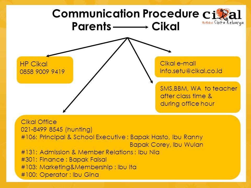 Communication Procedure Parents Cikal HP Cikal 0858 9009 9419 Cikal e-mail info.setu@cikal.co.id Cikal Office 021-8499 8545 (hunting) #106: Principal