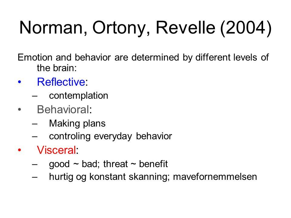 Norman, Ortony, Revelle (2004) Emotion and behavior are determined by different levels of the brain: •Reflective: –contemplation •Behavioral: –Making plans –controling everyday behavior •Visceral: –good ~ bad; threat ~ benefit –hurtig og konstant skanning; mavefornemmelsen