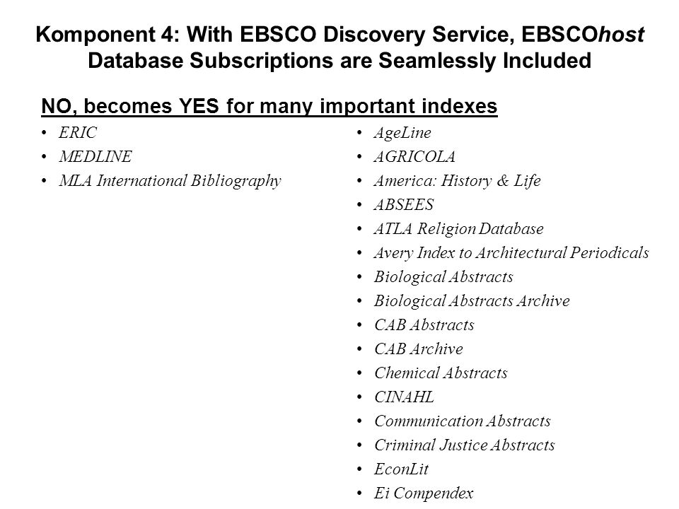 Komponent 4: With EBSCO Discovery Service, EBSCOhost Database Subscriptions are Seamlessly Included YES •ERIC •MEDLINE •MLA International Bibliography NO •AgeLine •AGRICOLA •America: History & Life •ABSEES •ATLA Religion Database •Avery Index to Architectural Periodicals •Biological Abstracts •Biological Abstracts Archive •CAB Abstracts •CAB Archive •Chemical Abstracts •CINAHL •Communication Abstracts •Criminal Justice Abstracts •EconLit •Ei Compendex NO, becomes YES for many important indexes