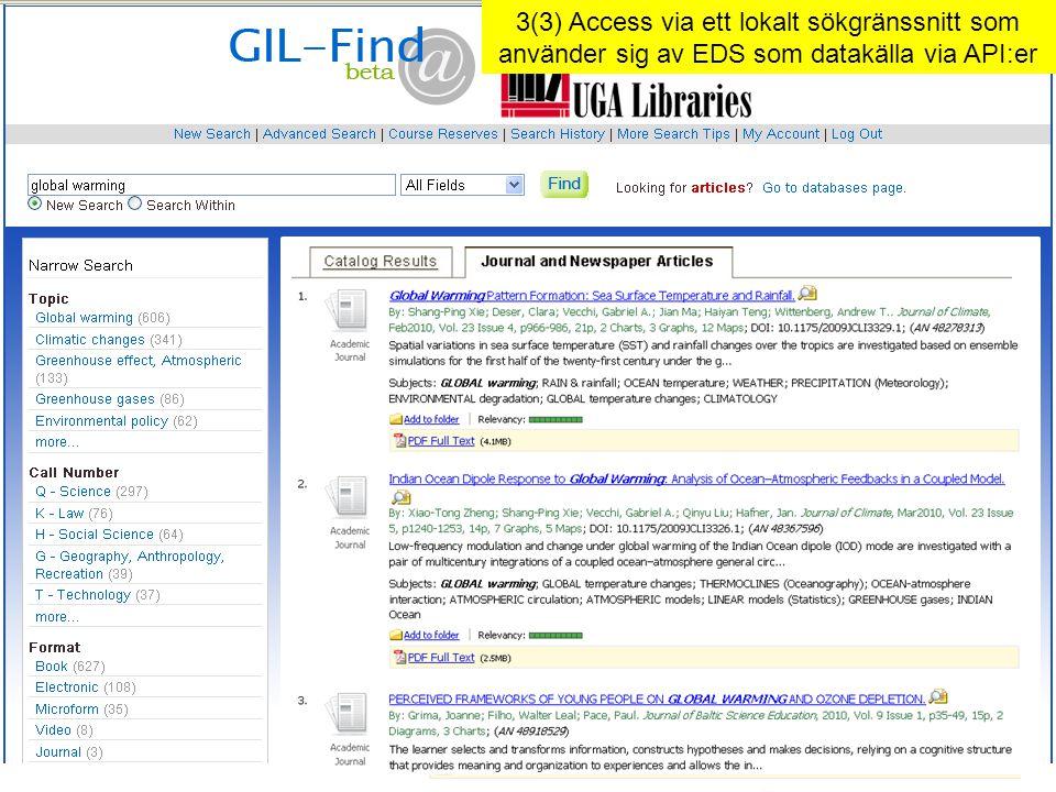 3(3) Access via ett lokalt sökgränssnitt som använder sig av EDS som datakälla via API:er