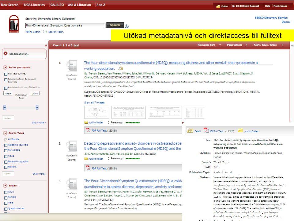 Utökad metadatanivå och direktaccess till fulltext