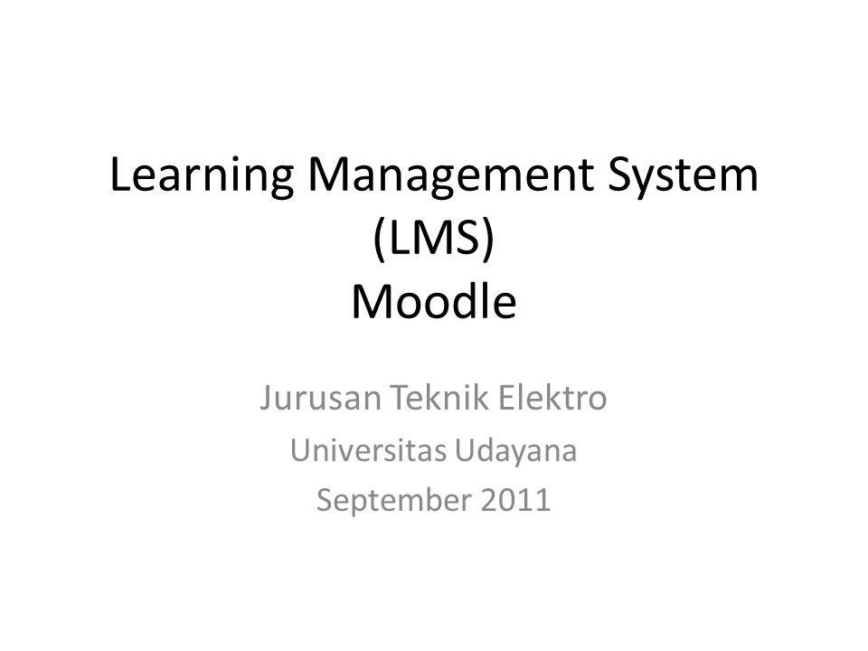 Tugas I • Install moodle di laptop masing-masing • Upload konten untuk mata kuliah yang dipilih • Presentasikan • Waktu: 1 minggu --- install • 2 minggu: presentasi • Group: 2 orang