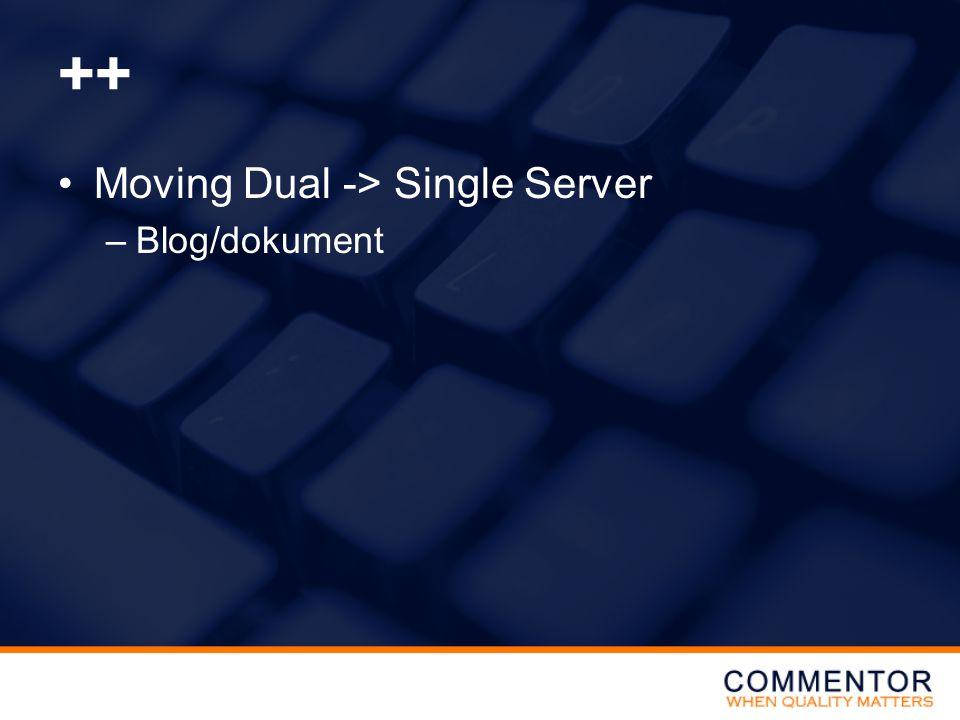 ++ •Moving Dual -> Single Server –Blog/dokument