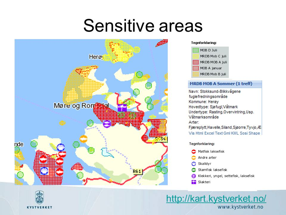 Sensitive areas http://kart.kystverket.no/