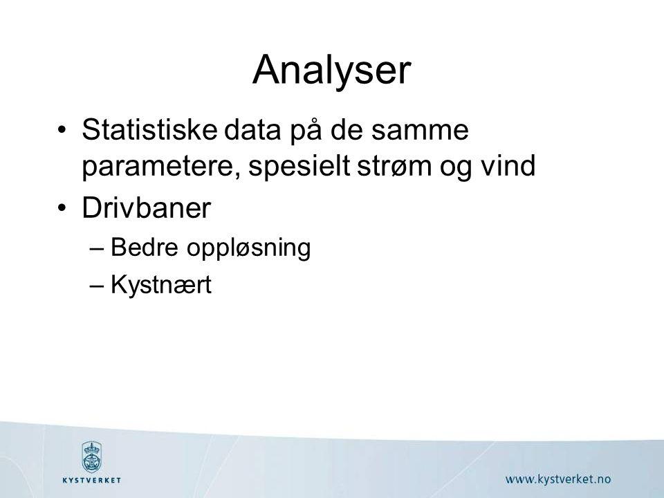 Analyser •Statistiske data på de samme parametere, spesielt strøm og vind •Drivbaner –Bedre oppløsning –Kystnært