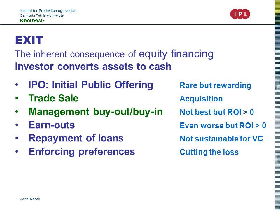 Institut for Produktion og Ledelse Danmarks Tekniske Universitet John Heebøll VÆKSTHUS+ EXIT The inherent consequence of equity financing Investor con