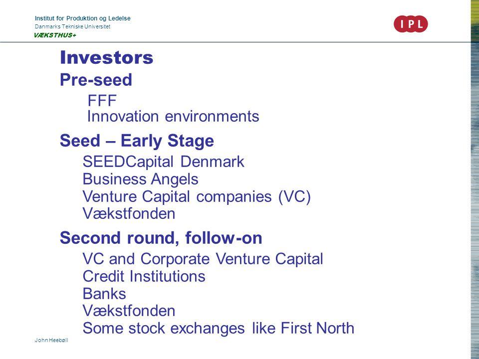 Institut for Produktion og Ledelse Danmarks Tekniske Universitet John Heebøll VÆKSTHUS+ Investors Pre-seed FFF Innovation environments Seed – Early St