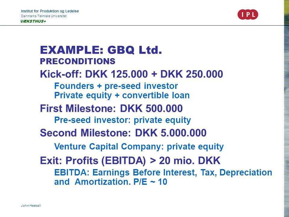 Institut for Produktion og Ledelse Danmarks Tekniske Universitet John Heebøll VÆKSTHUS+ EXAMPLE: GBQ Ltd. PRECONDITIONS Kick-off: DKK 125.000 + DKK 25