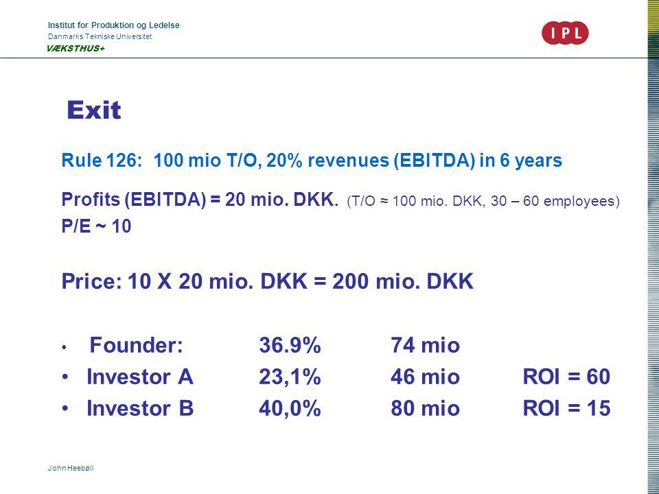 Institut for Produktion og Ledelse Danmarks Tekniske Universitet John Heebøll VÆKSTHUS+ Exit Rule 126: 100 mio T/O, 20% revenues (EBITDA) in 6 years P