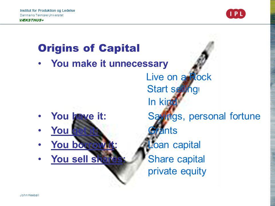 Institut for Produktion og Ledelse Danmarks Tekniske Universitet John Heebøll VÆKSTHUS+ Origins of Capital •You make it unnecessary Live on a Rock Sta
