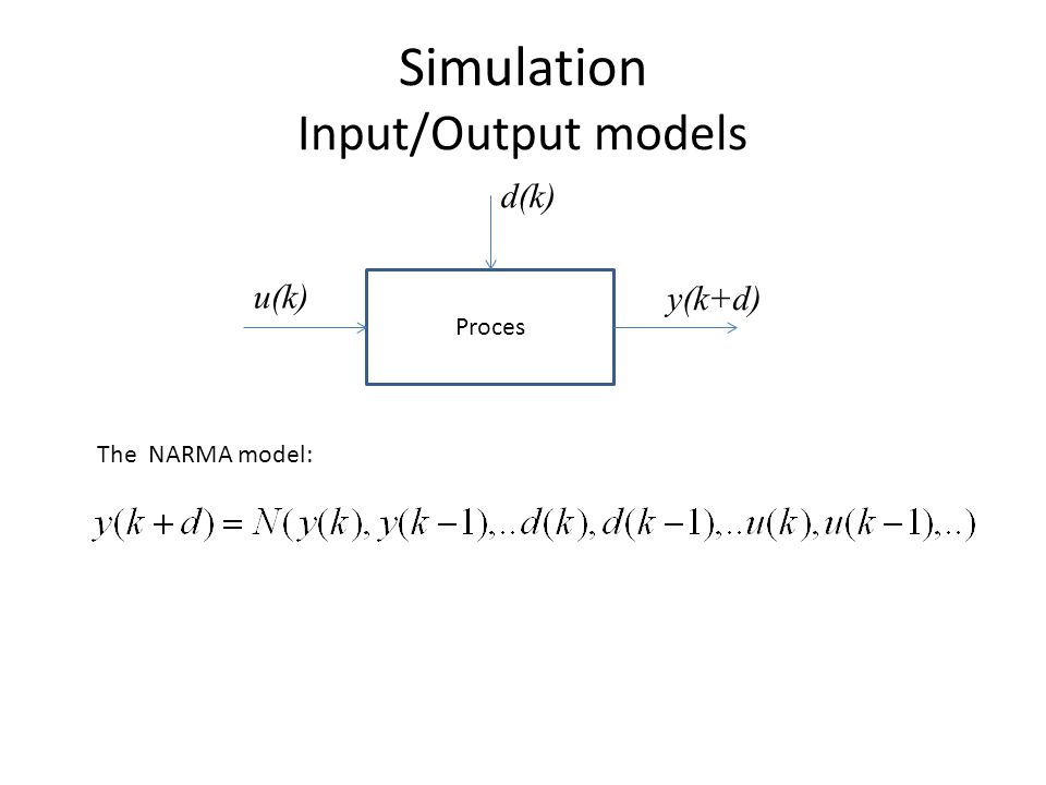 Simulation Input/Output models Proces u(k) y(k+d) d(k) The NARMA model: