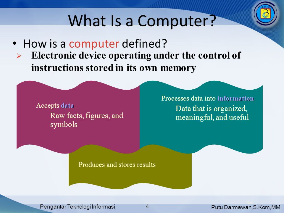 Putu Darmawan,S.Kom,MM Pengantar Teknologi Informasi 15 The Components of a Computer • What is a compact disc.