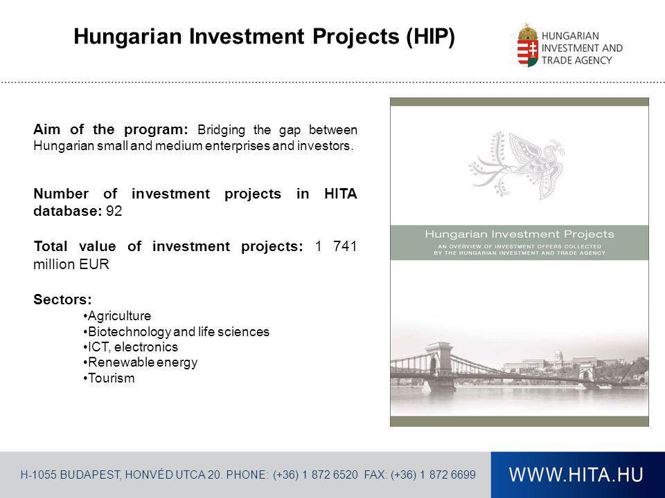 H-1055 BUDAPEST, HONVÉD UTCA 20. PHONE: (+36) 1 872 6520 FAX: (+36) 1 872 6699 Hungarian Investment Projects (HIP) Aim of the program: Bridging the ga