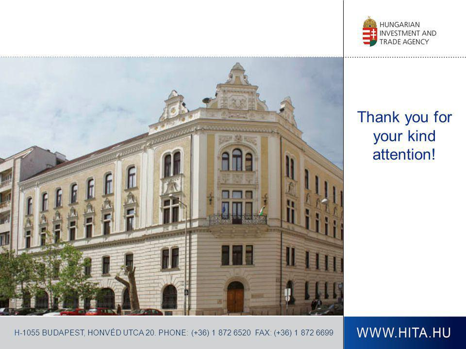 Thank you for your kind attention! H-1055 BUDAPEST, HONVÉD UTCA 20. PHONE: (+36) 1 872 6520 FAX: (+36) 1 872 6699