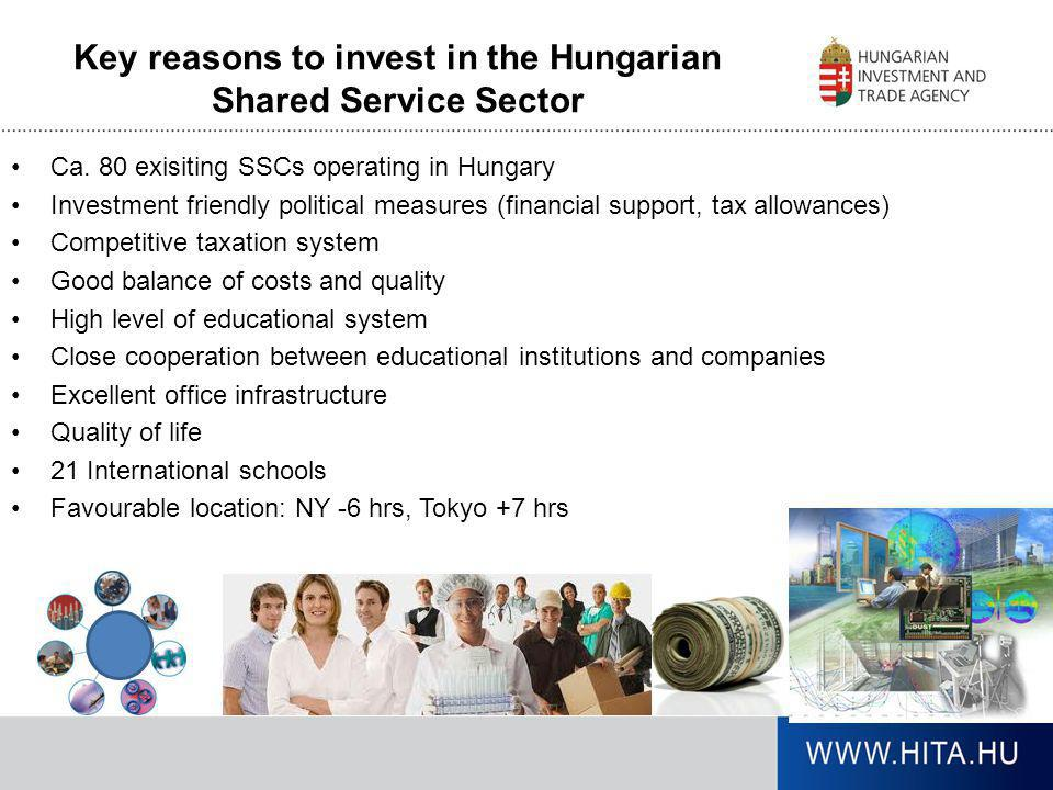 Key reasons to invest in the Hungarian Shared Service Sector •Ca. 80 exisiting SSCs operating in Hungary •Investment friendly political measures (fina
