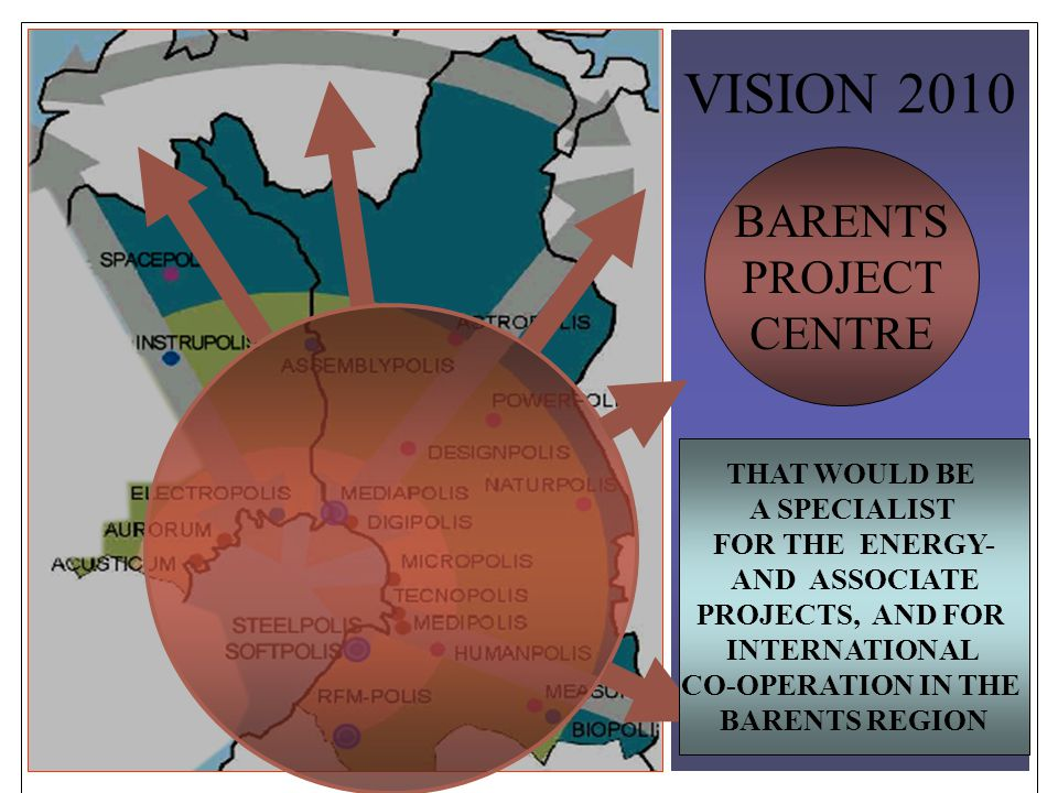 VISION 2010 BARENTS PROJECT CENTRE THAT WOULD BE A SPECIALIST FOR THE ENERGY- AND ASSOCIATE PROJECTS, AND FOR INTERNATIONAL CO-OPERATION IN THE BARENTS REGION