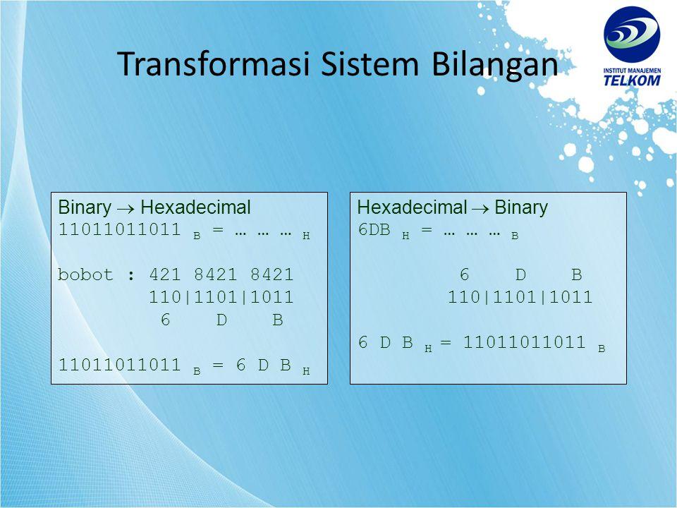 Binary  Hexadecimal 11011011011 B = … … … H bobot : 421 8421 8421 110|1101|1011 6 D B 11011011011 B = 6 D B H Hexadecimal  Binary 6DB H = … … … B 6 D B 110|1101|1011 6 D B H = 11011011011 B Transformasi Sistem Bilangan