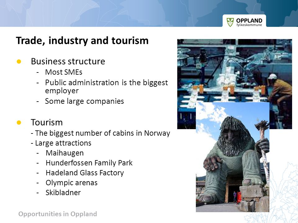 Opportunities in Oppland ● Business structure - Most SMEs -Public administration is the biggest employer -Some large compani es ● Tourism - The biggest number of cabins in Norway - Large attractions -Maihaugen -Hunderfossen Family Park -Hadeland Glass Factory -Olympic arenas -Skibladner Trade, industry and tourism