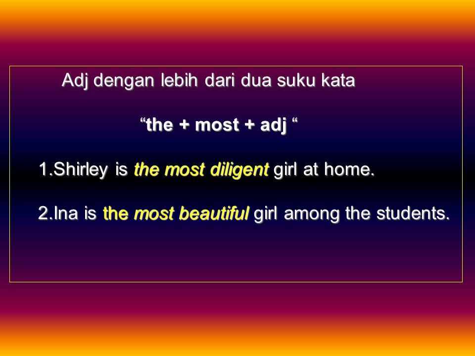 "Superlative Degree Formula a. Adjective (adj) dengan satu suku kata ""the + adj + est"" Umar is the strong est in the class. b. Adj dengan dua suku kata"
