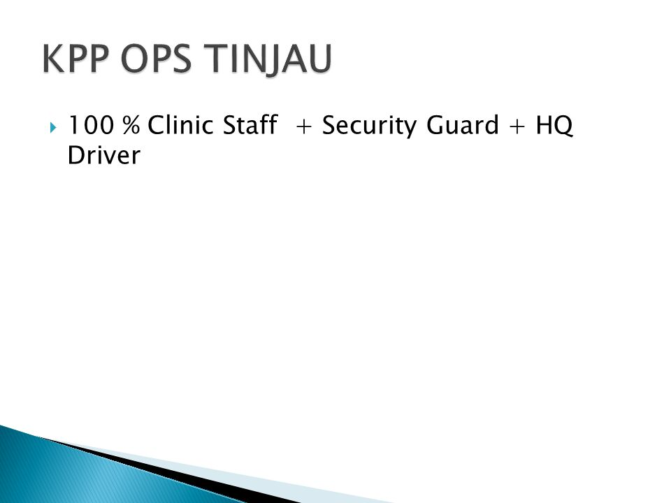  100 % Clinic Staff + Security Guard + HQ Driver