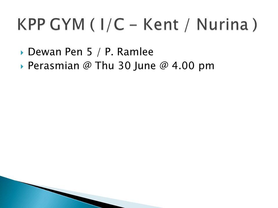  Dewan Pen 5 / P. Ramlee  Perasmian @ Thu 30 June @ 4.00 pm