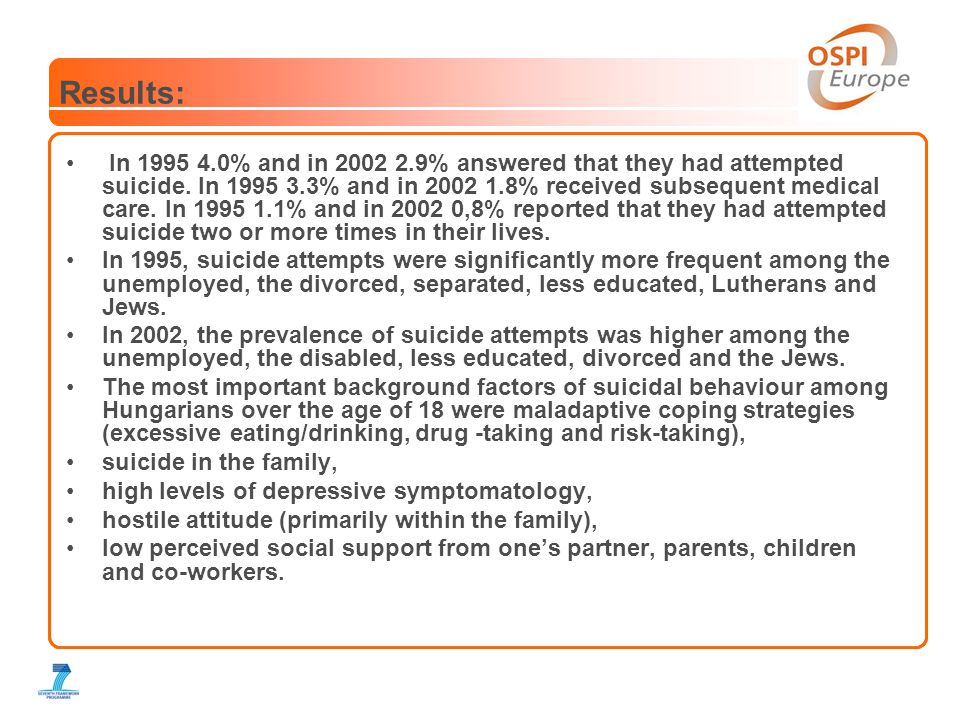 Results: • In 1995 4.0% and in 2002 2.9% answered that they had attempted suicide.