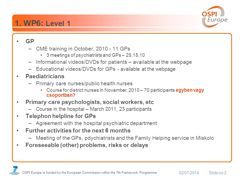 02/07/2014Slide no 2 OSPI Europe is funded by the European Commission within the 7th Framework Programme 1.