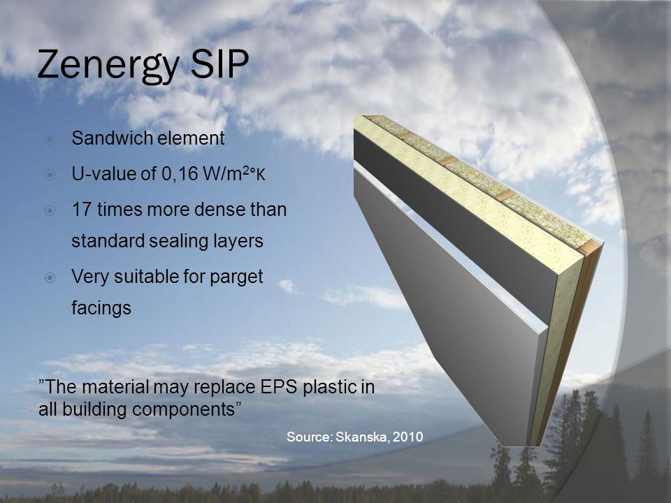 "Zenergy SIP  Sandwich element  U-value of 0,16 W/m 2 °K  17 times more dense than standard sealing layers  Very suitable for parget facings ""The m"