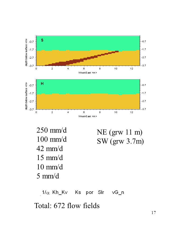 17 S H 250 mm/d 100 mm/d 42 mm/d 15 mm/d 10 mm/d 5 mm/d NE (grw 11 m) SW (grw 3.7m) Total: 672 flow fields