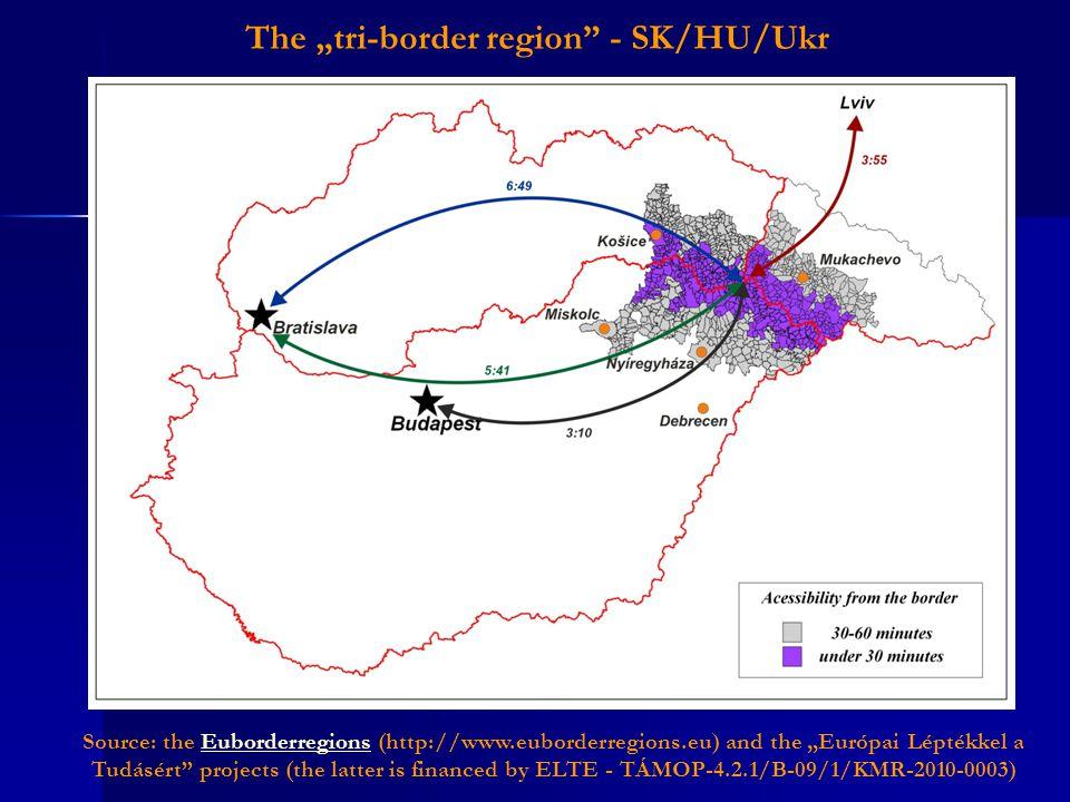 """Source: the Euborderregions (http://www.euborderregions.eu) and the """"Európai Léptékkel a Tudásért projects (the latter is financed by ELTE - TÁMOP-4.2.1/B-09/1/KMR-2010-0003)Euborderregions The """"tri-border region - SK/HU/Ukr"""