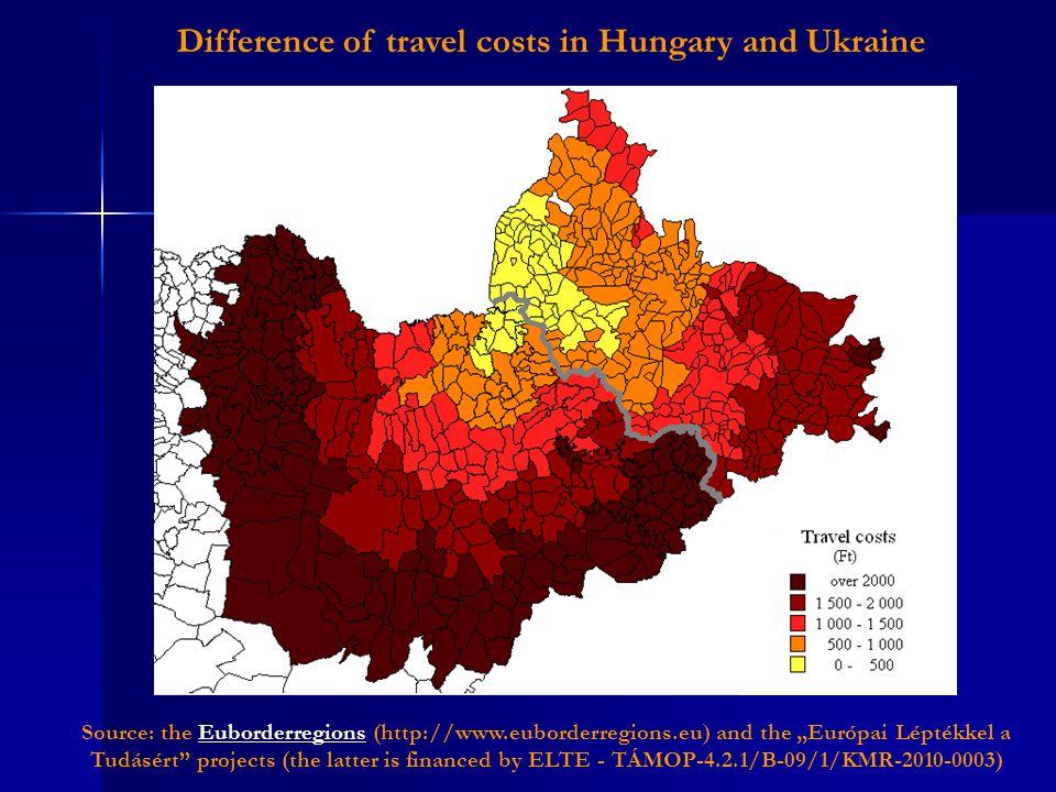 "Difference of travel costs in Hungary and Ukraine Source: the Euborderregions (http://www.euborderregions.eu) and the ""Európai Léptékkel a Tudásért"" p"