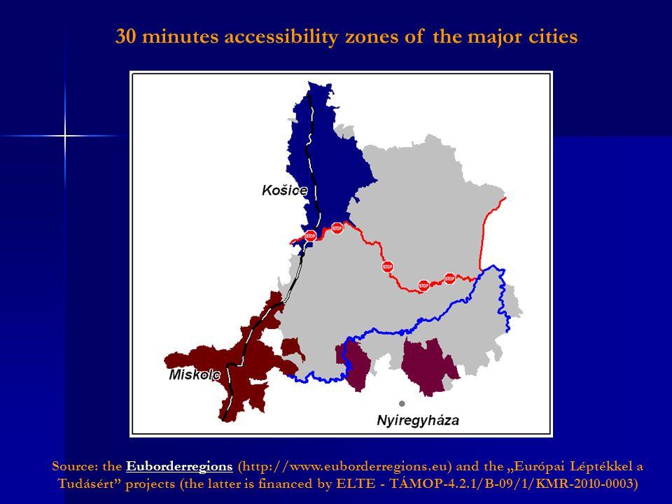 "Source: the Euborderregions (http://www.euborderregions.eu) and the ""Európai Léptékkel a Tudásért projects (the latter is financed by ELTE - TÁMOP-4.2.1/B-09/1/KMR-2010-0003)Euborderregions 30 minutes accessibility zones of the major cities"