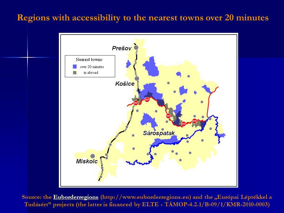 "Regions with accessibility to the nearest towns over 20 minutes Source: the Euborderregions (http://www.euborderregions.eu) and the ""Európai Léptékkel a Tudásért projects (the latter is financed by ELTE - TÁMOP-4.2.1/B-09/1/KMR-2010-0003)Euborderregions"