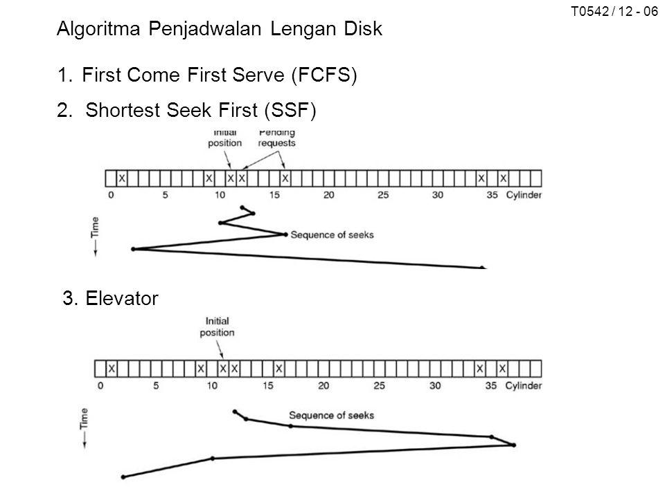 T0542 / 12 - 06 3. Elevator Algoritma Penjadwalan Lengan Disk 1.First Come First Serve (FCFS) 2.