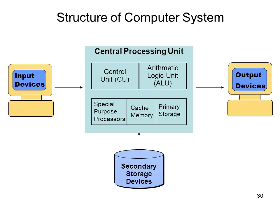 Structure of Computer System 30 Central Processing Unit Output Devices Cache Memory Primary Storage Secondary Storage Devices Control Unit (CU) Arithm